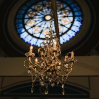 Chandelier & Stain Glass Window
